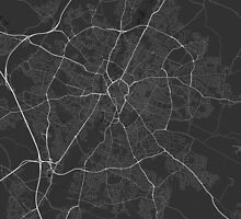 Leicester, England Map. (White on black) by Graphical-Maps