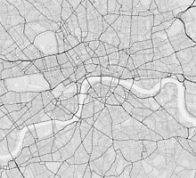 London, England Map. (Black on white) by Graphical-Maps