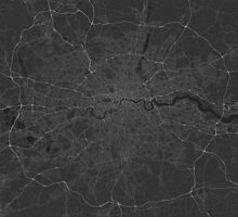 London, England Map. (White on black) by Graphical-Maps