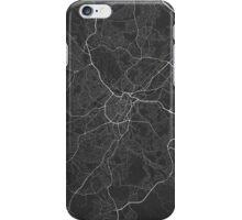 Sheffield, England Map. (White on black) iPhone Case/Skin