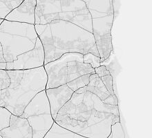 Sunderland, England Map. (Black on white) by Graphical-Maps