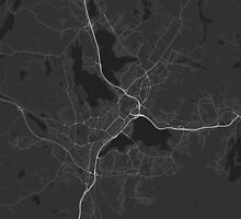 Jyväskylä, Finland Map. (White on black) by Graphical-Maps