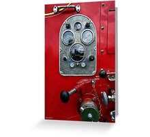 Gauges on Vintage Fire Truck  Greeting Card