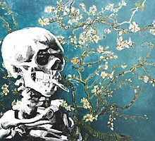 Skull with burning cigarette on cherry blossom by filippobassano