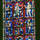 The fall of Adam and Eve Stained glass window Cathedral Soissons France 198405070017  by Fred Mitchell