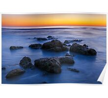 Beach Rocks Sunrise Poster