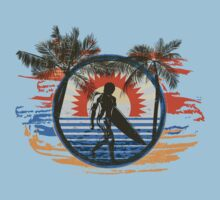 Surfing - Summer Sun and Palm Trees and Paint Brushes by Denis Marsili - DDTK