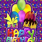 Fun Balloon Cake, Gift & Stars Design, Bright And Happy Colours  by Moonlake