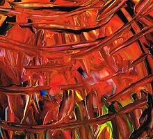 Red Abstract Art - Warm Garden - By Sharon Cummings by Sharon Cummings