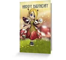 Cute Magical Fairy With Crystal Ball And Wand  Greeting Card