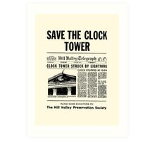 Back to the future - Save the clock tower ! Art Print