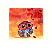 Owl's First Fall Leaf Art Print