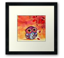 Owl's First Fall Leaf Framed Print