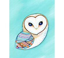 Tribal Pattern Barn Owl Photographic Print