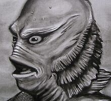 Gillman, Creature from the Black lagoon in b/w by tonypatrick
