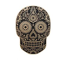 Black and Gold Sugar Skull Photographic Print