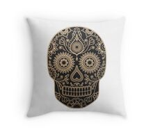 Black and Gold Sugar Skull Throw Pillow