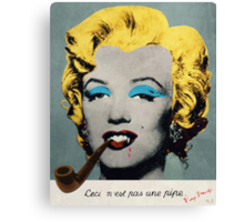 Vampire Marilyn with surreal pipe Canvas Print