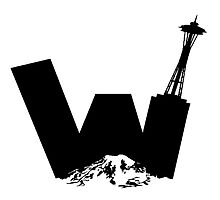 UW logo + Space Needle and Mt. Rainier by kltj11