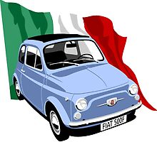 Classic Fiat 500F light blue by car2oonz