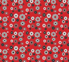 Flower Power Groovy in Red by dbvisualarts