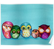 Fabric Owl Family Poster