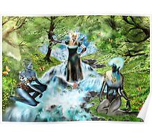 Spirits of the Water {Digital Fantasy Figure Illustration} Poster