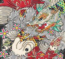 Koi dragon with koi fish by Thoricartist