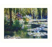 Willow & lilies, Giverny Art Print