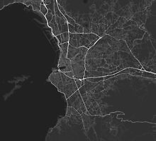 Marseille, France Map. (White on black) by Graphical-Maps