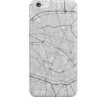 Paris, France Map. (Black on white) iPhone Case/Skin