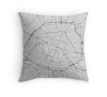 Paris, France Map. (Black on white) Throw Pillow