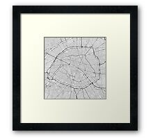 Paris, France Map. (Black on white) Framed Print