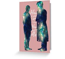 """Johnlock """"ALONE IS WHAT I HAVE"""" white letters Greeting Card"""