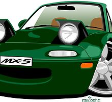 Mazda MX-5 caricature green by car2oonz