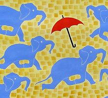 Blue Elephants at Play by Susan Greenwood Lindsay