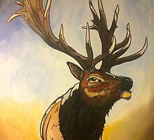 """Incredi - Bull"" Elk Painting by Eric Houghland"