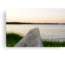 dock over quogue sunset Canvas Print