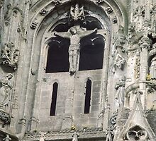 Crucified Christ on facia ruins of Abbaye St Jean de Vignes Soissons France 198405070023 by Fred Mitchell