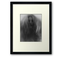 Beautiful young woman face behind hazy glass art photo print Framed Print