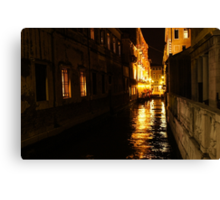 Golden Glow - Venice, Italy at Night Canvas Print