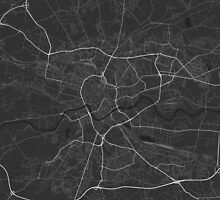 Krakow, Poland Map. (White on black) by Graphical-Maps