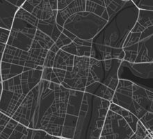 Poznan, Poland Map. (White on black) Sticker