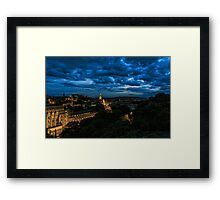 Edinburgh Skyline before the Military Tattoo Fireworks Framed Print