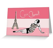 Coco Chanel in the 1920s Portrait in pinks Greeting Card