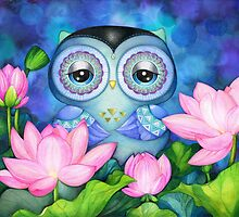 Owl in Lotus Pond by Annya Kai
