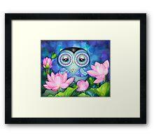 Owl in Lotus Pond Framed Print