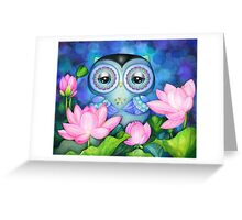 Owl in Lotus Pond Greeting Card