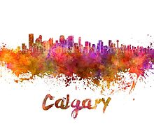 Calgary skyline in watercolor by paulrommer