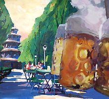 Munich Chinese Tower Beergarden in English Garden by artshop77